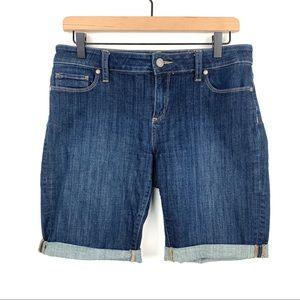 PAIGE Dark Denim Jean Shorts Cuffed Size 28